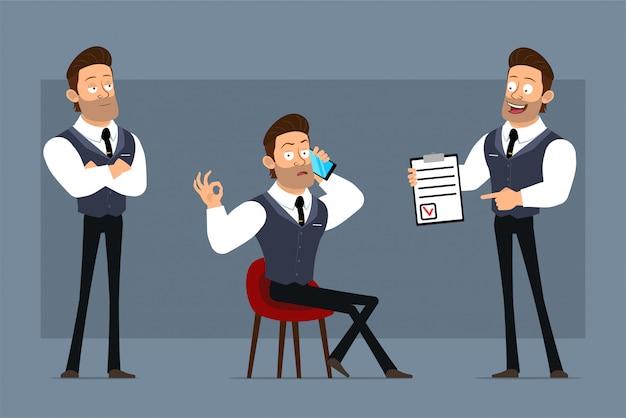 Personaje de dibujos animados plano divertido fuerte empresario musculoso con corbata negra. listo para animaciones. niño hablando por teléfono y mostrando la lista de tareas pendientes. aislado sobre fondo gris. conjunto de iconos grandes.