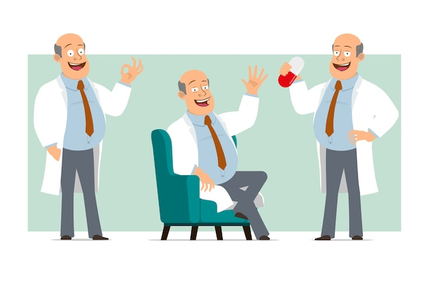 Personaje de dibujos animados plano divertido gordo médico calvo en uniforme blanco con corbata. niño sosteniendo una pastilla grande y descansando en el sofá. listo para la animación. aislado sobre fondo verde. conjunto.