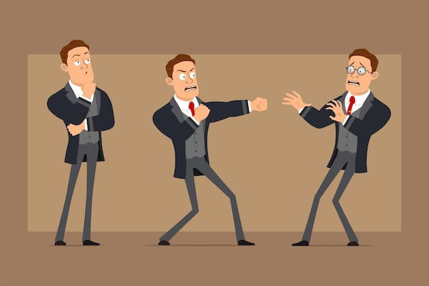 Personaje de dibujos animados plano divertido hombre de negocios fuerte en abrigo negro y corbata. niño asustado, pensando y peleando.