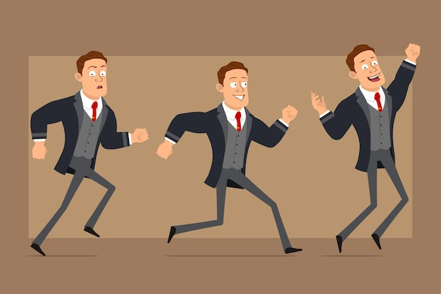 Personaje de dibujos animados plano divertido hombre de negocios fuerte en abrigo negro y corbata. niño corriendo hacia adelante y saltando.