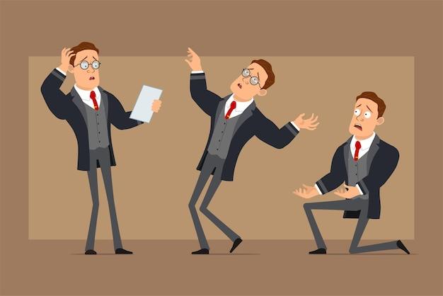 Personaje de dibujos animados plano divertido hombre de negocios fuerte en abrigo negro y corbata. niño parado sobre la rodilla, leyendo una nota y cayendo inconsciente.