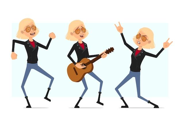 Personaje de dibujos animados plano divertido lindo rock and roll chica en chaqueta de cuero. chica rubia descansando tocando la guitarra y bailando.