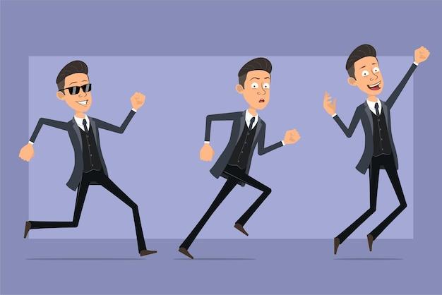 Personaje de dibujos animados plano divertido mafioso en abrigo negro y gafas de sol. niño corriendo hacia adelante y saltando. listo para la animación. aislado sobre fondo violeta. conjunto.