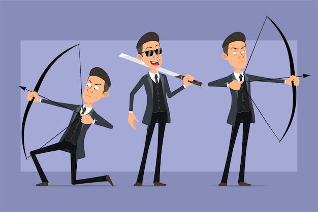 Personaje de dibujos animados plano divertido mafioso en abrigo negro y gafas de sol. niño sosteniendo espada asiática y disparando desde arco con flecha. listo para la animación. aislado sobre fondo violeta. conjunto