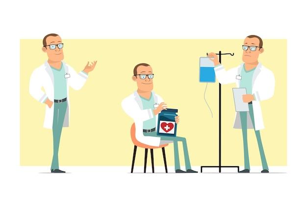Personaje de dibujos animados plano divertido médico fuerte hombre en uniforme blanco y gafas. muchacho que trabaja con el contador médico y que sostiene el documento. listo para la animación. aislado sobre fondo amarillo. conjunto.