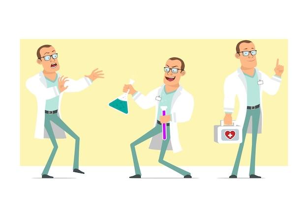 Personaje de dibujos animados plano divertido médico fuerte hombre en uniforme blanco y gafas. niño asustado y sosteniendo frascos químicos con líquido. listo para la animación. aislado sobre fondo amarillo. conjunto.