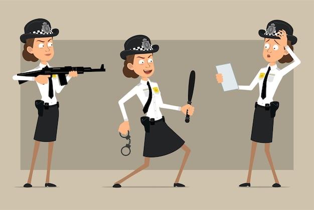Personaje de dibujos animados plano divertido policía británico mujer con sombrero negro y uniforme con placa. chica disparando con rifle y con esposas.