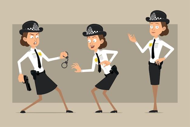 Personaje de dibujos animados plano divertido policía británico mujer con sombrero negro y uniforme con placa. chica posando, escabulléndose y sosteniendo una pistola.