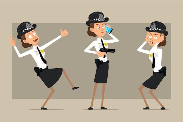 Personaje de dibujos animados plano divertido policía británico mujer con sombrero negro y uniforme con placa. chica sosteniendo una pistola y hablando por teléfono.