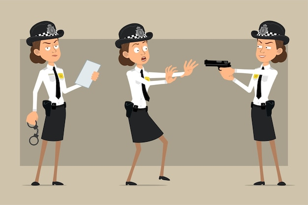 Personaje de dibujos animados plano divertido policía británico mujer con sombrero negro y uniforme con placa. documento de lectura de niña y pistola de forma de disparo. listo para la animación. aislado sobre fondo gris. conjunto.