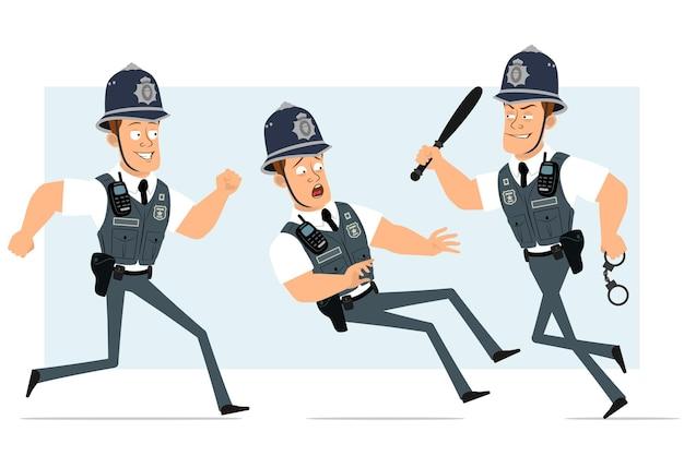 Personaje de dibujos animados plano divertido policía fuerte en chaleco antibalas con radio. niño corriendo con esposas y porra de policía.