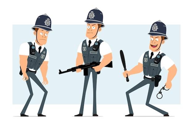Personaje de dibujos animados plano divertido policía fuerte en chaleco antibalas con radio. niño de pie con esposas y porra de policía.