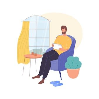 Personaje de dibujos animados plano navegando por internet en interiores en casa ilustración