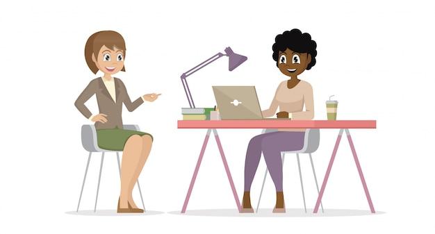 Personaje de dibujos animados plantea, conversación de gente de negocios. las mujeres de negocios están discutiendo el proyecto.