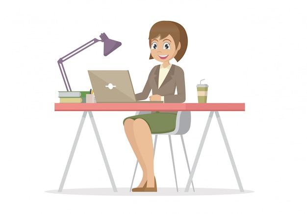 Personaje de dibujos animados plantea, mujer de negocios en el escritorio está trabajando en la computadora portátil.