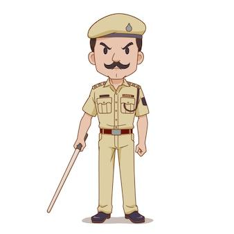 Personaje de dibujos animados de la policía india con bastón