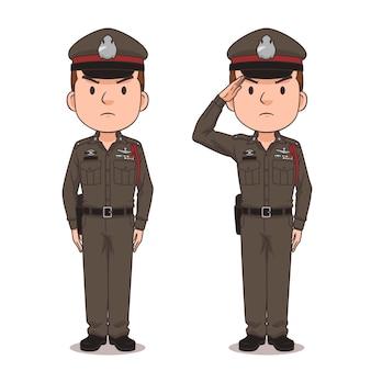 Personaje de dibujos animados de la policía tailandesa.