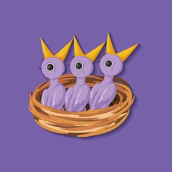 Personaje de dibujos animados de pollito morado