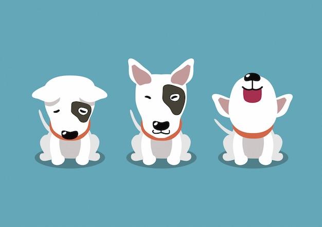 Personaje de dibujos animados poses de perro bull terrier
