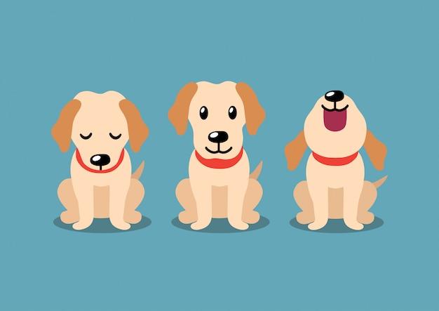 Personaje de dibujos animados poses de perro labrador