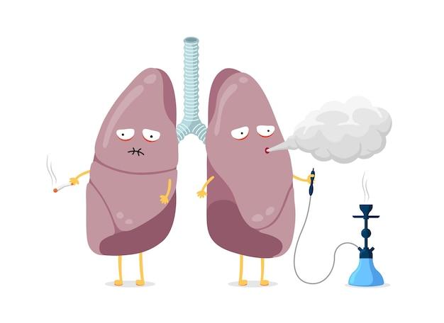 Personaje de dibujos animados de pulmones enfermos insalubres fumando cigarrillos y sistema respiratorio humano de narguile