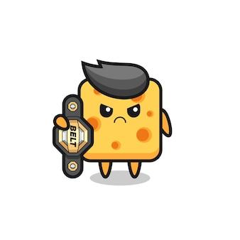 Personaje de dibujos animados de queso de bebé con chupete, diseño de estilo lindo para camiseta, pegatina, elemento de logotipo