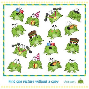 Personaje de dibujos animados de ranas lindas emocionales - juego para niños