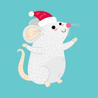 Personaje de dibujos animados de ratón de navidad