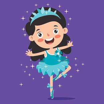 Personaje de dibujos animados realizando ballet clásico