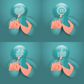 Personaje de dibujos animados de redes sociales con conjunto de iconos de teléfono inteligente y pantalla táctil