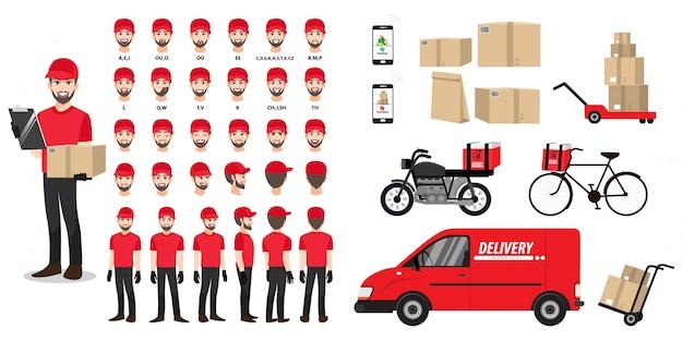 Personaje de dibujos animados con un repartidor en una camiseta roja para animación. anverso, lateral, posterior, vista del personaje. vehículos, herramientas y juego de cajas. ilustración plana