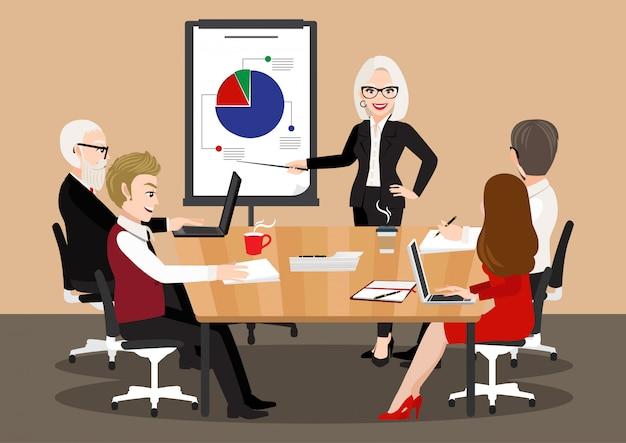 Personaje de dibujos animados con reunión de negocios. personas planas en conferencia de presentación. empresario en infografía de estrategia de proyecto. seminario de equipo concepto 357