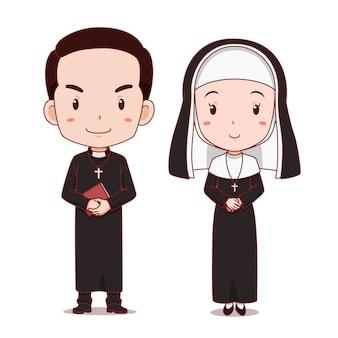 Personaje de dibujos animados de sacerdote católico y monja.