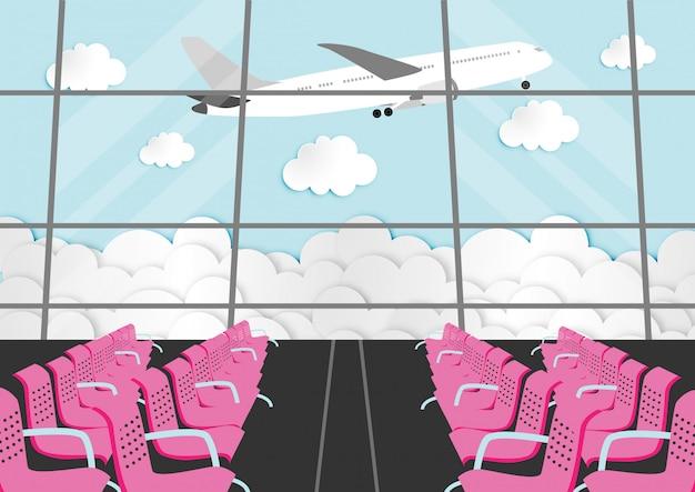 Personaje de dibujos animados con sala de pasajeros en la terminal del aeropuerto