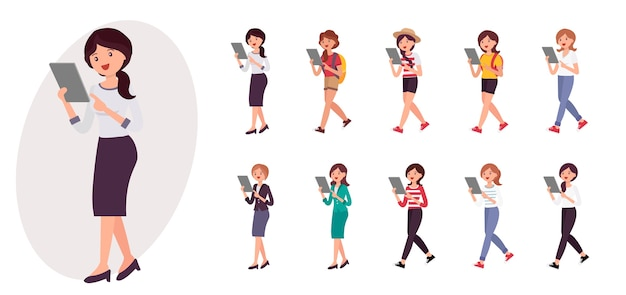 Personaje de dibujos animados señora de la oficina de pie viendo la colección de tabletas