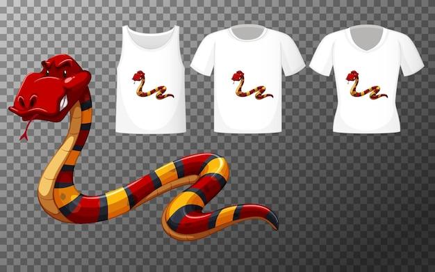 Personaje de dibujos animados de serpiente roja con muchos tipos de camisas sobre fondo transparente
