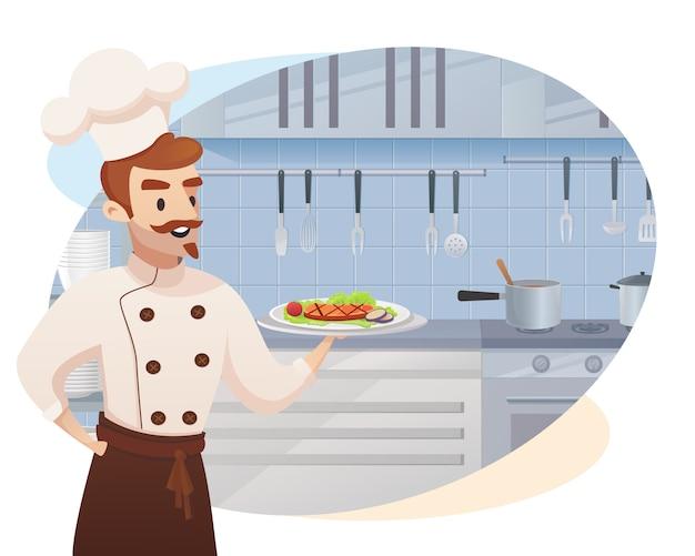 Personaje de dibujos animados shef cocinero sosteniendo un plato listo