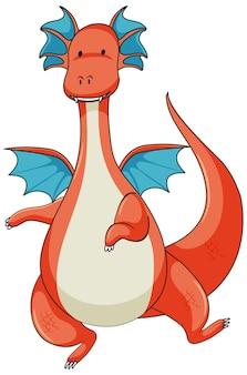 Personaje de dibujos animados simple de dragón aislado