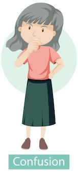 Personaje de dibujos animados con síntomas de confusión