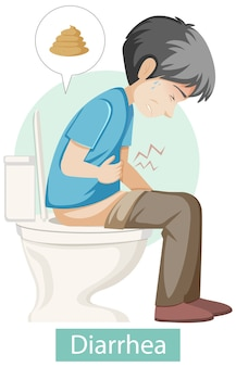Personaje de dibujos animados con síntomas de diarrea