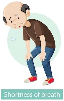Personaje de dibujos animados con síntomas de dificultad para respirar