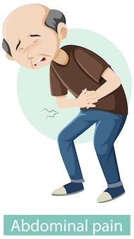 Personaje de dibujos animados con síntomas de dolor abdominal