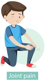 Personaje de dibujos animados con síntomas de dolor en las articulaciones