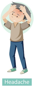 Personaje de dibujos animados con síntomas de dolor de cabeza