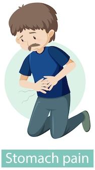 Personaje de dibujos animados con síntomas de dolor de estómago