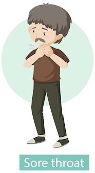 Personaje de dibujos animados con síntomas de dolor de garganta