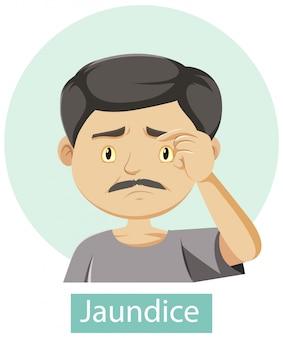 Personaje de dibujos animados con síntomas de ictericia