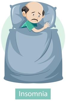 Personaje de dibujos animados con síntomas de insomnio