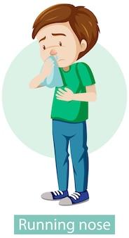 Personaje de dibujos animados con síntomas de secreción nasal
