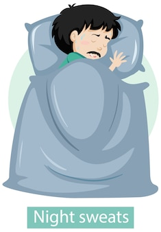 Personaje de dibujos animados con síntomas de sudores nocturnos